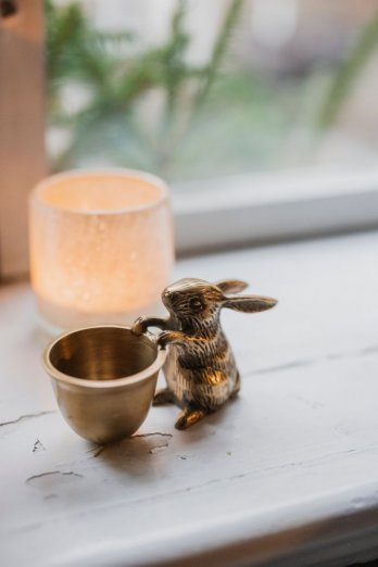 Brass rabbit with eggcup
