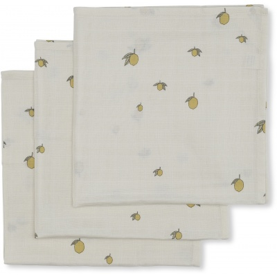 Konges slöjd 3-pack muslin cloth lemon