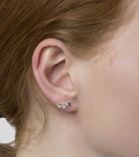 Syster P Snap Earrings Triple Star Plain Silver